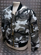 MA1 US Military Style Bomber Jacket MOD/Scooter Camo Asst Cols - All Sizes - NEW