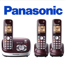 Panasonic KX-TG6573R Wine Red Expandable Digital Cordless Phone w/ 3 handset
