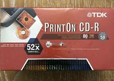 TDK CD-R80M  700MB 52x in slim jewel cases blank-Print On CDR New