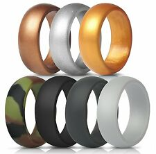 New ThunderFit Silicone Rings 7 Pack Flexible Wedding Bands Men 8.7 mm wide