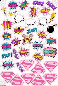 33 Pre-Cut Edible WAFER Pink Super Hero Logos POW BANG ZAP Cupcake Toppers