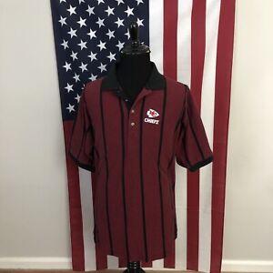 vtg 90s Kansas City chiefs polo shirt men's large kc striped red antigua 3e612p