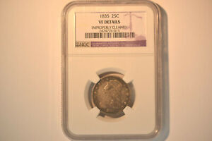 1835 Capped Bust Quarter- NGC VF Details- Cleaned.