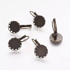 200pcs 12mm Vintage Brass LeverBack Earring Blank Bases Nickel Free Bronze Craft