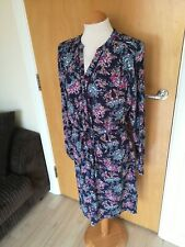 Ladies PER UNA Dress Size 14 Blue Purple Shirt Casual Day Smart Floral