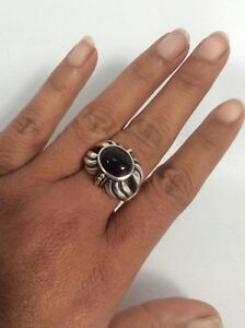 Beautiful Lagos Caviar sterling Silver 925 18K Black Onyx ring size 7.25