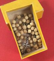 Antique Vintage Old French Rosary Beads with Silver Cross in original box
