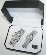 NEW-GENEVA POLISHED SILVER TONE S/STEEL ROUND 2,TWO PIECE HIS+HER WATCH SET+BOX