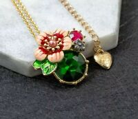 Betsey Johnson Green Crystal Flower Pendant Gold Chain Necklace