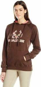 Realtree Women's Camo Tubing CVC Applique Fleece Top, Coffee, XXL
