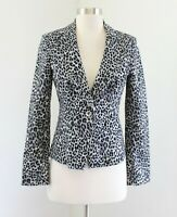 White House Black Market Gray Black Leopard Print Blazer Jacket Size 0 Cheetah