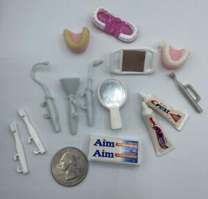 Barbie Dollhouse DENTIST TOOTHPASTE BRUSH DIORAMA Bathroom Accessories Teeth