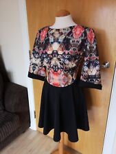 Ladies GIRLS ON FILM Dress Size 14 Black Print Fit And Flare Party Evening
