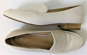 Michael Kors Women's Valerie Natural Ivory Leather Loafers block heels size 7.5M