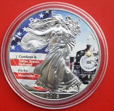 "Amerika: 1 Uz.-Oz ""Silver Eagle"" 2015, ST-BU  #F 2060 Coloriert, Cumbres& Toltec"