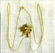 ANTIQUE MOTHERS DAY GIFT VICTORIAN SOLID YELLOW GOLD ANGLE CUPID PINDANT & CHAIN