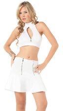 2066 Sexy Gogo Rave White Exotic Skirt Halter Top Club Wear Beach Zipper S M