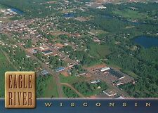 Aerial View of Eagle River, Wisconsin, Vilas County Northwoods Vacation Postcard