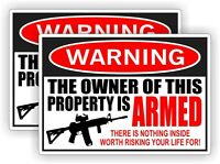 Owner Armed Warning Stickers | Labels | Vinyl Decals 2nd Amendment Home Security