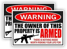 Owner Armed Warning Sticker | Label | Vinyl Decal 2nd Amendment Home Security