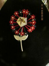 Vintage Large Red, White and Blue Flower Brooch
