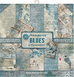 """Stamperia Double-Sided Paper Pad 12""""X12"""" 10/Pkg-Blues, 10 Designs/1 Each"""