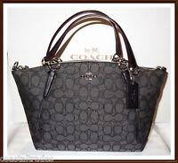 Coach Signature Small Leather Trim Kelsey Bag Purse Satchel Black Smoke NEW NWT