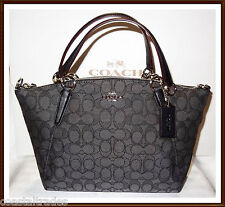 NWT Coach Signature Small Leather Trim Kelsey Bag Satchel Black Smoke w/ RECEIPT