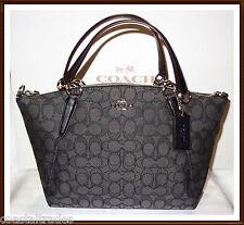 NWT Coach Signature Small Leather Trim Kelsey Bag Satchel Black Smoke w/ RECEIPT