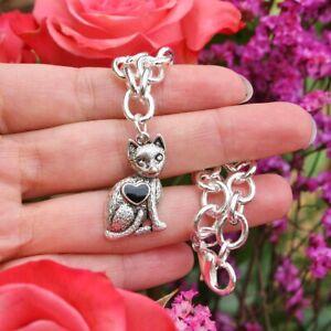 Cat Charm BRACELET Sterling Silver Plt Sitting Kitty Kitten Chain Jewelry Gift