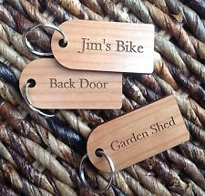 3 personalised engraved wood key tags, key fobs