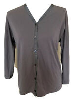 DKNY womens Button Front 3/4 Sleeve Top Size Medium Olive Green