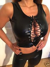 Connie's Stretch Wet look Black Crop Top w/ lace detail OS or One Size