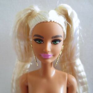 NEW! 2021 Barbie Extra Doll ~ Long Blonde Pigtails Green Eyes Articulated NUDE
