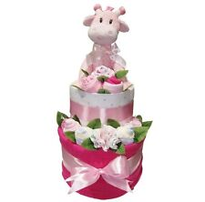 JIGGLE GIRAFFE Girl Nappy Cake Baby Shower Quality Hamper Gift (HAM193) NEW