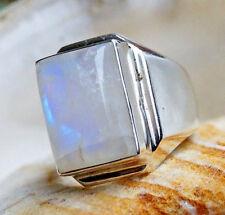 Massiv Siegelring 56/ 56,5 Schlicht Handarbeit Mondstein Ring 1,9 lang Silber