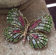 Vintage Estate Butterfly Brooch, Stunning Pastel Rhinestone Insect Bug Pin