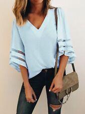 Womens Half Flare Tulle Sleeve Chiffon V-neck Loose Blouse T-shirt Summer Top UK Light Blue 8