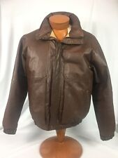 * Eddie Bauer * Goose Down Leather Aviator Motocycle Bomber Jacket M
