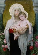 Quality Hand Painted Oil Painting Repro Bouguereau Madonna of the Roses 24x36in
