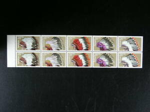 US  Scott # 2505a Booklet Pane  10 Indian Headdresses Stamps 29c ea  MNH   s332