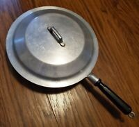 "VINTAGE MIRACLE MAID 11"" CAST ALUMINUM SKILLET W WOODEN HANDLE & LID"