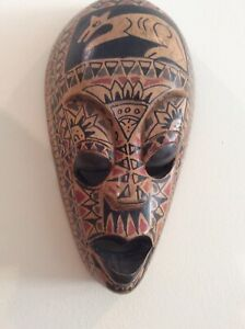 """Wooden Carved Tribal Face Mask Wall Hanging 8"""" Length."""