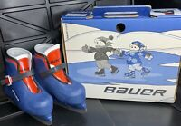 Bauer Lil Champ Kids Ice Hockey Skates Size Y08/09 Blue With Buckle