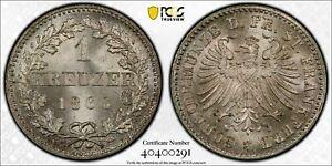 1866 Germany Frankfurt 1 Kreuzer PCGS MS67+ Lot#G410 Silver! Exceptional Example