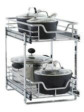 """Household Essentials C21221-1 Glidez 2-Tier Sliding Cabinet Organizer 11.5"""" W."""