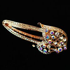 USA Seller Hair Clip Claw Rhinestone Crystal Hairpin Hat Fashion Gold AB
