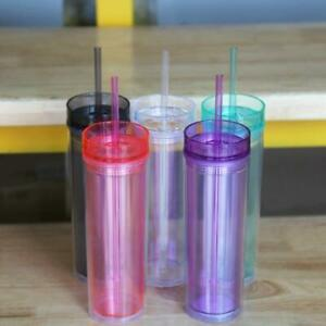 Colored Double Wall Clear Plastic Acrylic Tumblers With  Lids and Straws