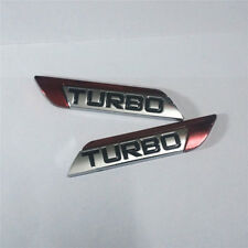 1 Pair of Red TURBO Chrome Emblem Metal Sticker Badge Decal Racing Logo Engine