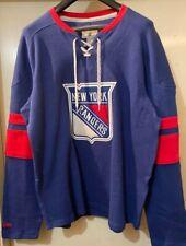 Vintage New York Rangers MENS CCM Long Sleeve Pullover Crew Sweatshirt Blue M-XL
